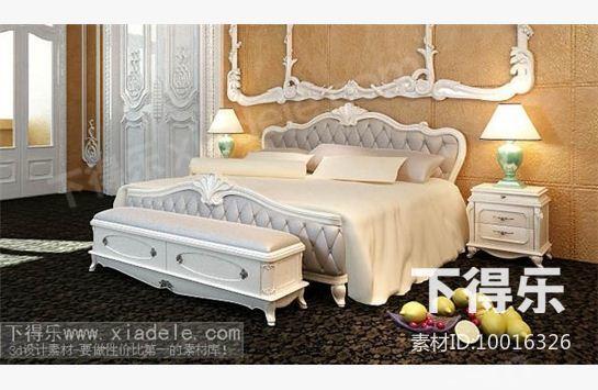 欧式木质软包平板床 3d模型下载