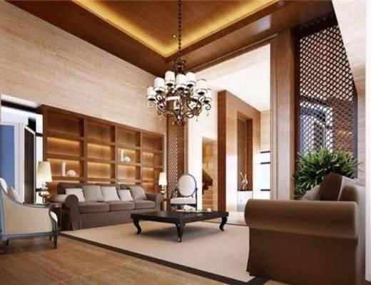 新中式, 客厅, 吊灯, 植物, 沙发