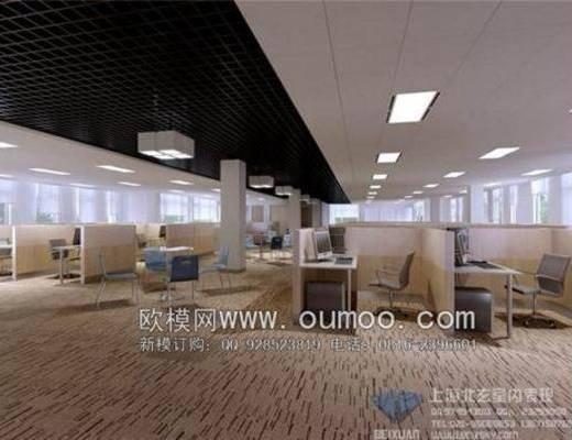 现代, 办公桌, 地毯, 单椅, 吸顶灯