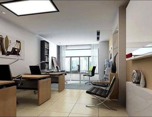 现代, 办公室, 单椅, 办公桌, 吸顶灯