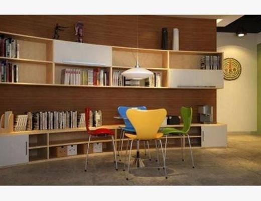 现代, 办公室, 单椅, 桌几, 置物柜