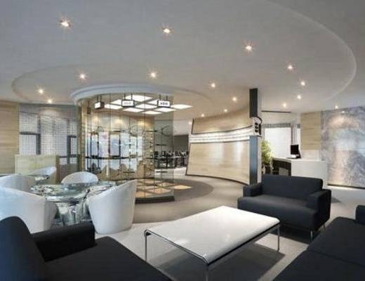 现代, 办公室, 单椅, 吸顶灯, 沙发