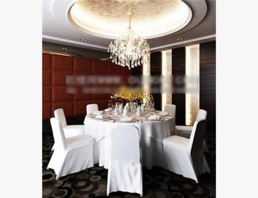 现代, 吊灯, 椅子, 餐桌, 包房