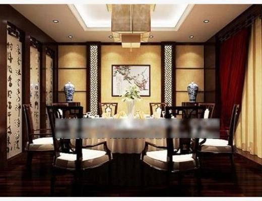 新中式, 吊灯, 餐桌, 椅子, 挂画, 摆件, 端景台, 包房