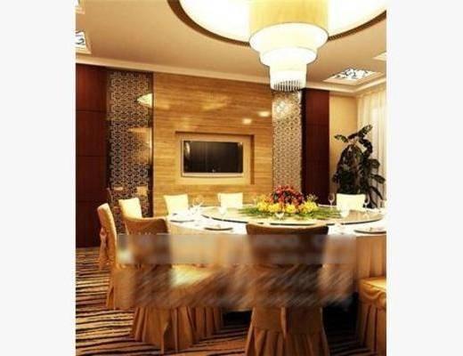 现代, 包房, 吊灯, 椅子, 餐桌, 盆栽, 餐具
