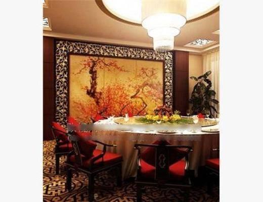 中式, 包房, 吊灯, 餐桌, 椅子, 盆栽