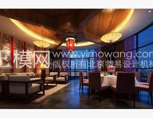 新中式, 餐厅, 吊灯, 餐桌, 椅子