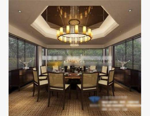新中式, 吊灯, 餐桌, 椅子, 摆件