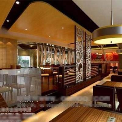 新中式, 餐桌, 餐厅, 椅子, 吊灯