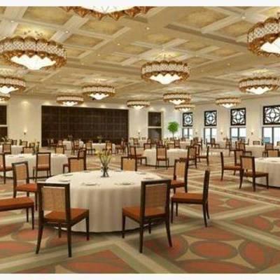 新中式, 椅子, 餐桌, 吊灯, 摆件, 餐厅
