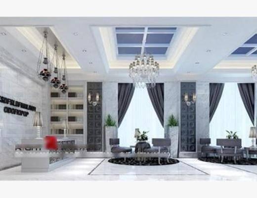 现代, 大堂, 沙发, 茶几, 盆栽