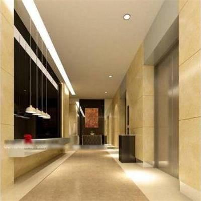 现代, 走廊, 吊灯, 垃圾桶