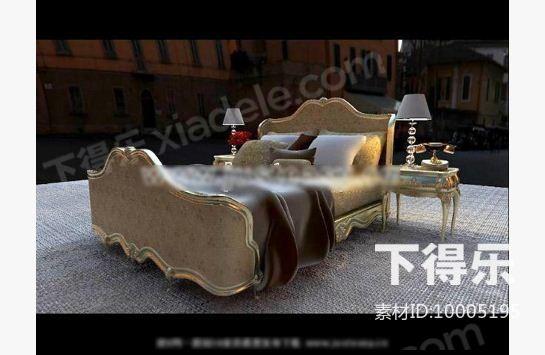 欧式金属软包平板床 3d模型下载