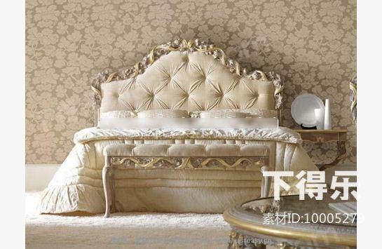 欧式木质软包平板床 3d模型下载图片