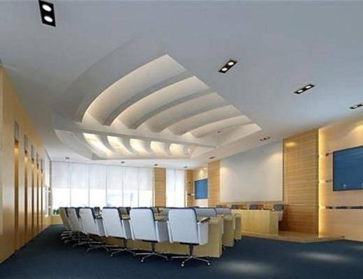 办公桌, 吸顶灯, 单椅, 书桌, 现代, 会议室