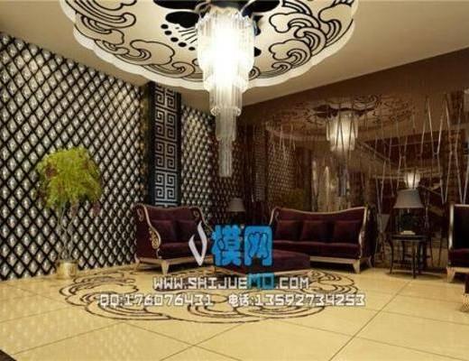 欧式, 会客厅, 吊灯, 沙发, 茶几, 盆栽
