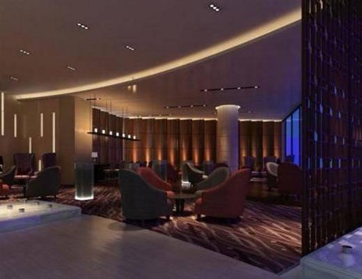 简欧, 酒吧, 桌几, 吸顶灯, 吊灯, 窗帘, 单椅, 地毯