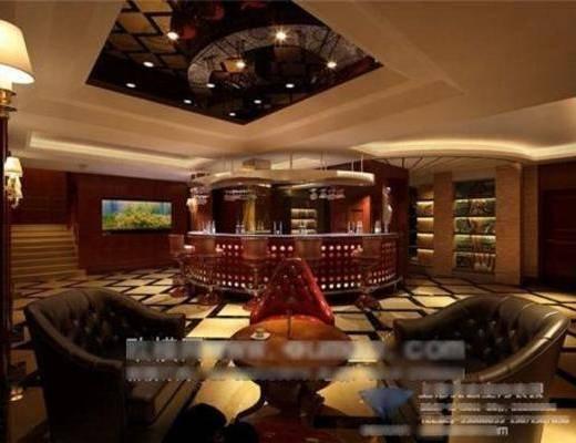 欧式, 酒吧, 吧台, 沙发, 桌几, 壁灯