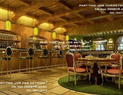 美式, 酒吧, 单椅, 吊灯, 吧台, 地毯, 窗帘