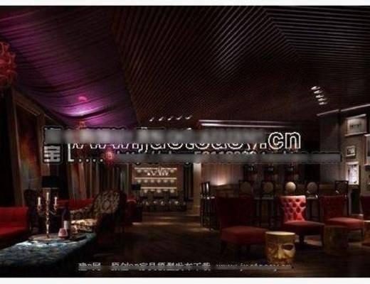 欧式, 古典, 酒吧, 单椅, 吸顶灯, 挂画, 地毯