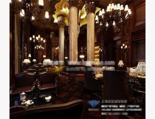 新古典, 酒吧, 吊灯, 单椅, 餐桌, 台灯