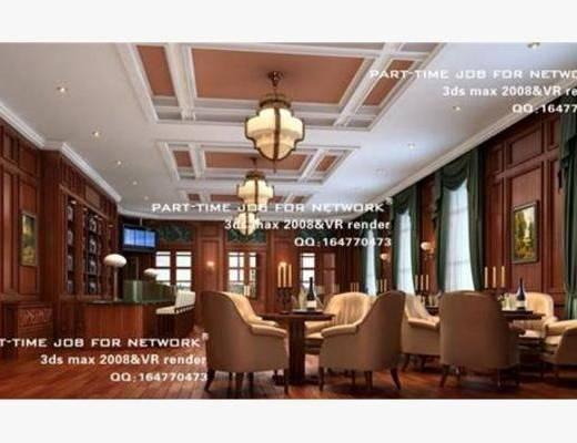 欧式, 酒吧, 吊灯, 单椅, 桌几, 展览, 挂画, 窗帘, 壁灯