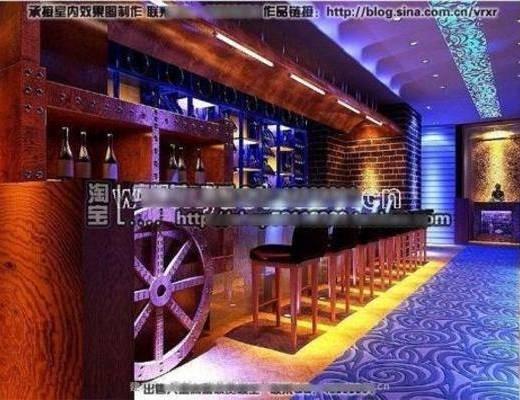 新古典, 酒吧, 吧椅, 吧台, 地毯, 吊灯, 墙饰