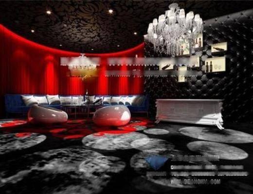 现代, 地毯, 吊灯, 墙饰, 吸顶灯, 单椅, 桌几