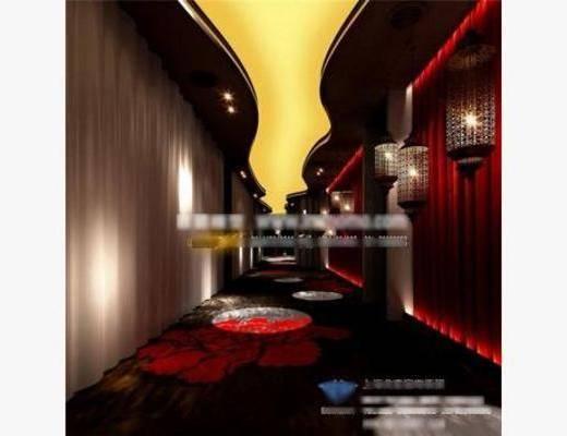 后现代, 走廊, 过道, 壁灯, 地毯, 墙饰