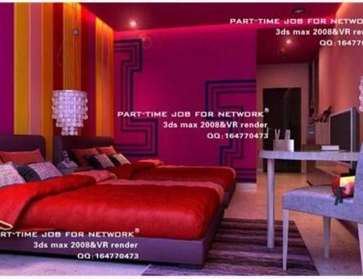 现代, 床, 梳妆台, 椅子, 壁灯