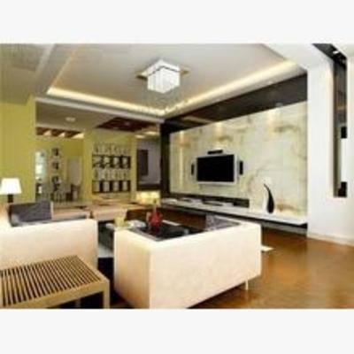 现代, 客厅, 吊灯, 边柜, 电视