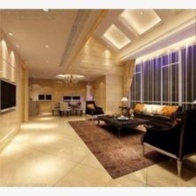 现代, 客厅, 沙发, 电视, 餐桌椅