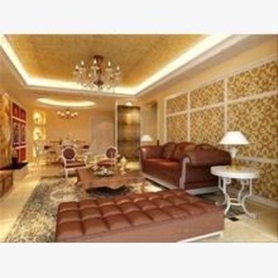 欧式, 客厅, 吊灯, 沙发, 餐桌椅