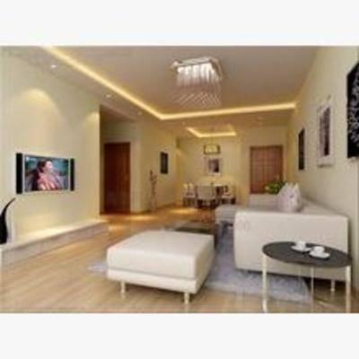 现代, 客厅, 吊灯, 沙发, 挂画