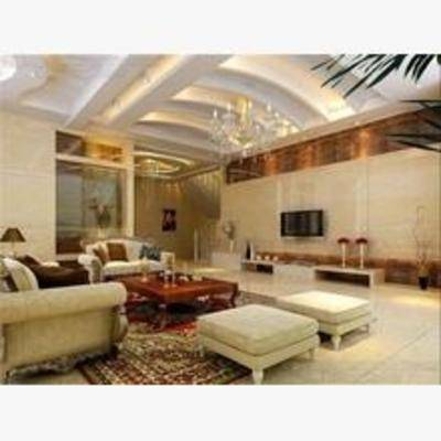 简欧, 客厅, 吊灯, 沙发, 电视