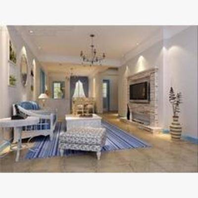 美式, 客厅, 吊灯, 沙发, 电视
