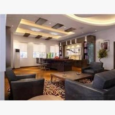 新中式, 办公室, 沙发, 茶几, 挂画, 盆栽, 书桌, 椅子