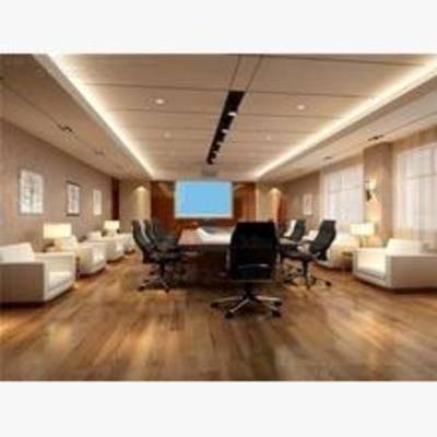 现代, 会议室, 单椅, 办公桌, 沙发