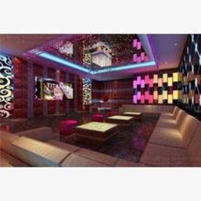 后现代, 、ktv, 沙发, 桌几, 墙饰, 吊灯