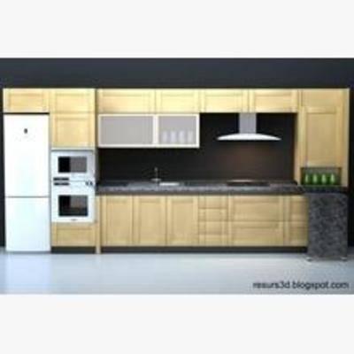 橱柜, 欧式橱柜, 一形橱柜, 现代, 抽油烟机, 燃气灶, 烤箱, 冰箱, 烘焙, 微波炉