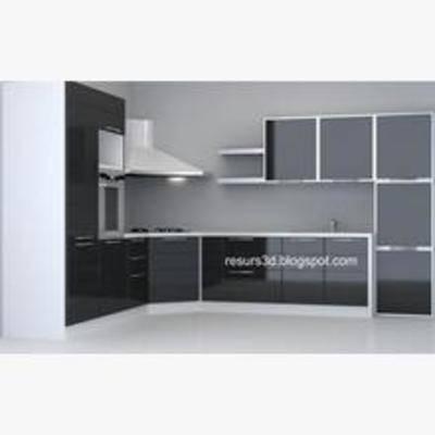 橱柜, 厨具, 现代橱柜, L形橱柜, 现代橱柜3, 现代, 简约, 抽油烟机, 置物柜