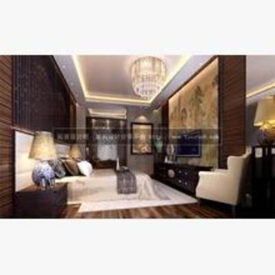 新中式, 卧室, 吊灯, 台灯, 床, 床头柜, 挂画, 电视柜, 单椅, 地毯