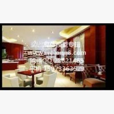 现代, 餐厅, 餐桌, 沙发, 餐具, 灯