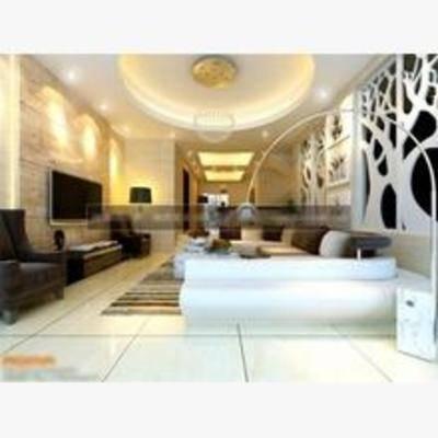 现代, 客厅, 吊灯, 沙发, 边柜, 电视