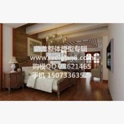 新中式, 卧室, 吊灯, 床, 床头柜, 台灯