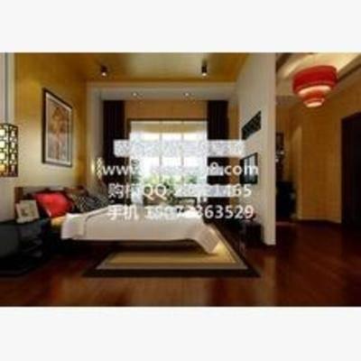 新中式, 卧室, 吊灯, 挂画, 床, 床头柜, 台灯, 窗帘, 地毯