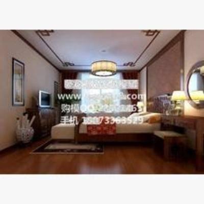 新中式, 卧室, 吊灯, 床, 挂画, 床头柜, 台灯, 窗帘, 地毯, 电视柜