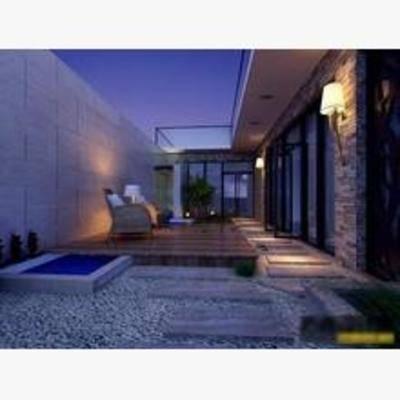 现代, 壁灯, 椅子, 茶几, 盆栽, 露台, 阳台