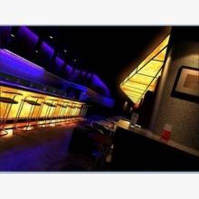 现代, 酒吧, 挂画, 吧椅, 吧台, 射灯, 沙发
