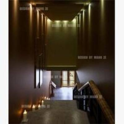 现代, 楼梯间, 吸顶灯, 楼梯